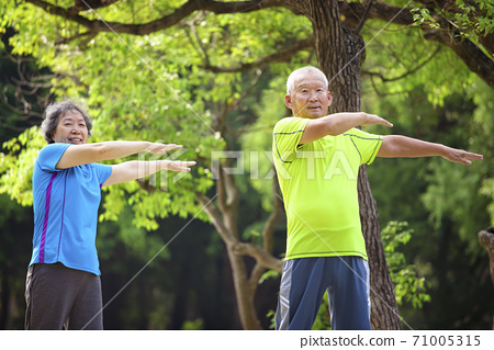 Happy Senior  couple exercising in the nature park 71005315