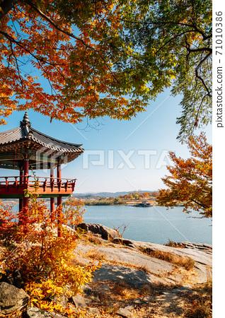 Silleuksa Temple Korean traditional pavilion with Namhan River at autumn in Yeoju, Korea 71010386