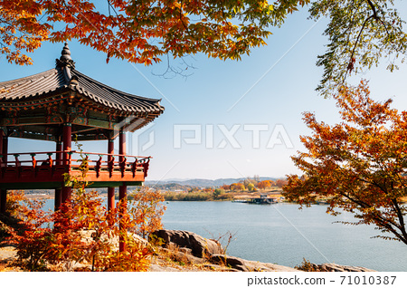 Silleuksa Temple Korean traditional pavilion with Namhan River at autumn in Yeoju, Korea 71010387