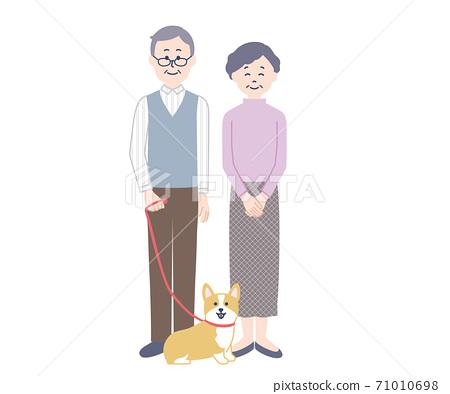年長夫婦和柯基犬圖片 71010698