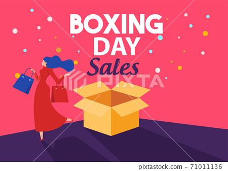 Boxing Day Sale, woman shopping seasonal Discounts Campaign Flat Vector Advertising 71011136