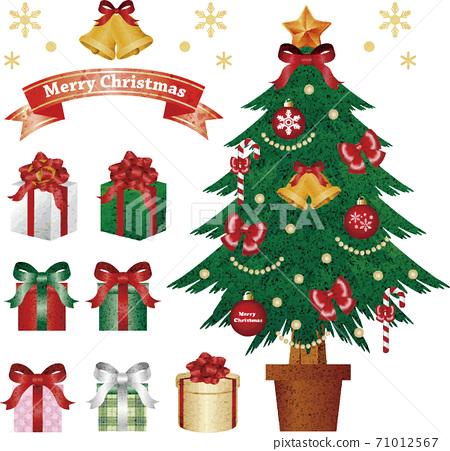 聖誕聖誕樹禮物水彩插圖素材集 71012567