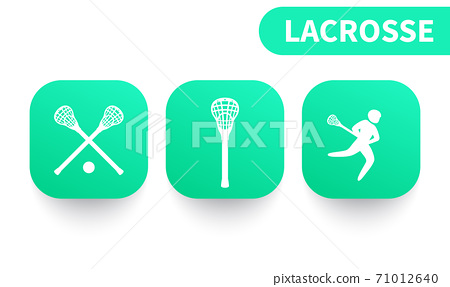 Lacrosse icons on green shapes 71012640