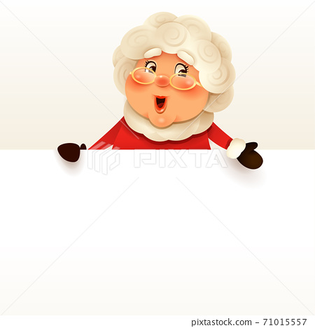 Mrs.Claus with big blank signboard. 71015557