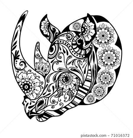 The zentangle of the one-horned rhinoceros with the floral ornament 71016372
