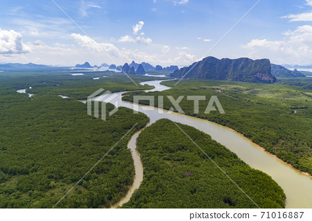 Aerial view drone shot amazing landscape of beautiful natural scenery river in mangrove forest and high mountains in phang nga province Thailand. 71016887