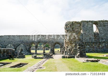 在蘇格蘭郊區的聖安德魯斯大教堂的風化的石牆 71018489
