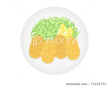 牡蠣在盤子上炸的插圖 71018735