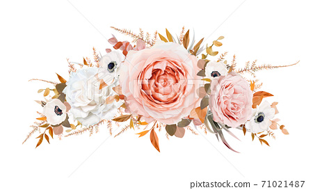 Romantic stylish vector floral wreath, garland bouquet design. Blush peach, pale pink Roses, ivory white anemone flowers, taupe brown orange fall Eucalyptus branch, ocher fern leaves. Editable element 71021487