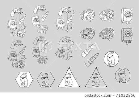 Set of line art witchcraft and magic items and scenes. Witchy mystic clipart. 71022856