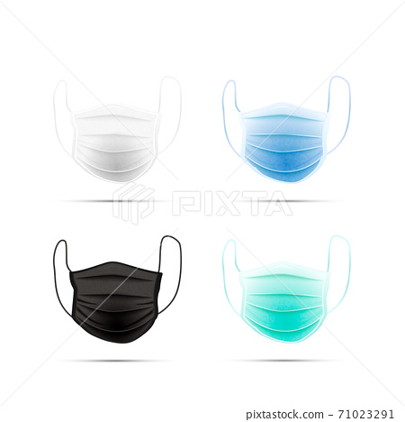 Set of different realistic medical face masks on white 71023291