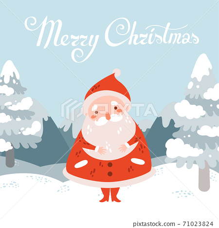 Merry christmas vector postcard with Santa Claus in winter landscape 71023824