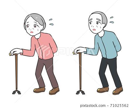 為拐杖但行走困難的老年人提供四點支持 71025562