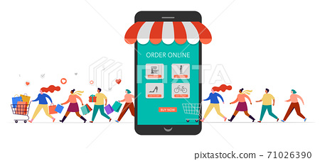 People shopping online using mobile phone. Happy men and women taking part in seasonal sale at store 71026390