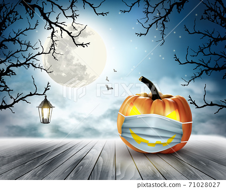Holiday Halloween background with pumpkin wearing medical face mask. Halloween facial mask as a symbol for disease control coronavirus or covid-19. Vector. 71028027