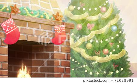 크리스마스 장식 된 벽난로와 트리 일러스트 71028991