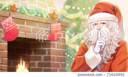 크리스마스 장식 된 벽난로와 트리, 산타 클로스 일러스트 71028992