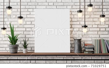 canvas hanging under decorative vintage light 71029751