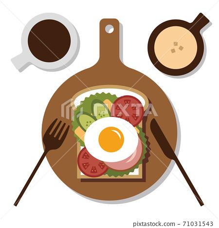 달걀 샐러드 토스트 옥수수 스프 일러스트 71031543