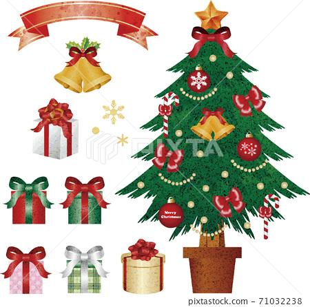 聖誕聖誕樹禮物水彩插圖素材集 71032238