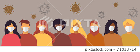 Portraits of different nationalities have different skin tones and hair colors. Everyone wears a medical mask. To prevent coronavirus infection flat design vector 71033714
