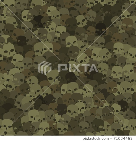 Camouflage olive and khaki scull silhouettes seamless pattern background 71034465
