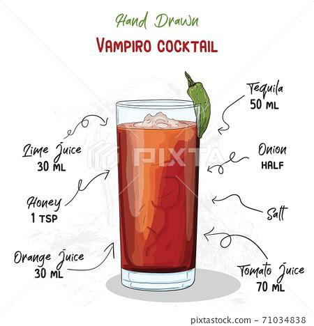 Hand Drawn Colorful Vampiro Summer Cocktail Drink Ingredients Handwritten Recipe. 71034838