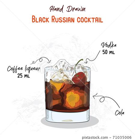 Hand Drawn Colorful Black Russian Summer Cocktail Drink Ingredients Handwritten Recipe. 71035006