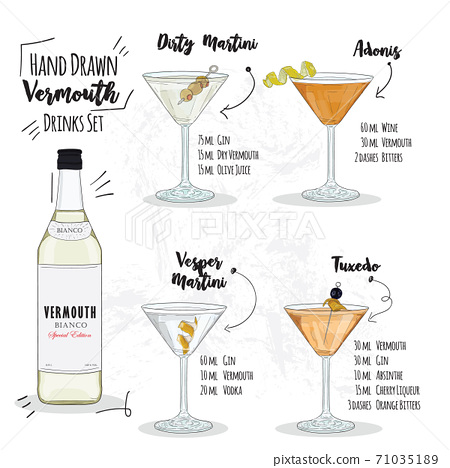 Hand Drawn Colorful Summer Vermouth Cocktails Stock Illustration 71035189 Pixta