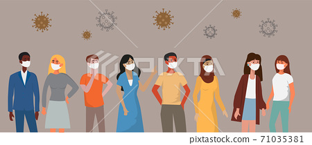 Portraits of different nationalities have different skin tones and hair colors. Everyone wears a medical mask. To prevent coronavirus infection flat design vector 71035381