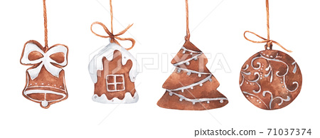 Set of Christmas gingerbread cookies hanging on string. Watercolor Christmas card. 71037374