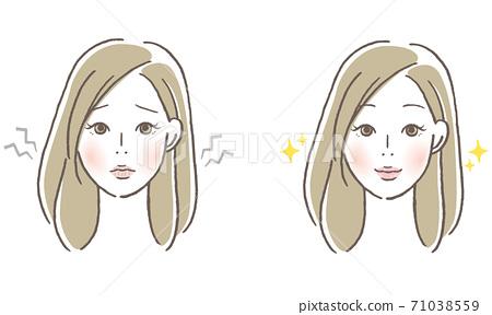 粗糙的嘴唇和閃亮的嘴唇的女人 71038559