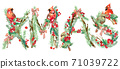 Xmas background. watercolor Christmas tree, bird, holly branches, snow, snowflake, forest tree branch background. Xmas text. Holiday Design. watercolor winter woodland illustration 71039722