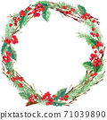 watercolor bird and Christmas wreath frame. watercolor winter holidays background. illustration bird, Christmas tree, mistletoe berry, snowflake holly branches.  71039890