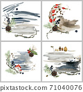 Christmas pre-made backgrounds for card. watercolor woodland nature composition set. scandinavian style design 71040076
