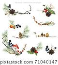 Christmas botanical composition.  watercolor woodland nature illustrations set. 71040147