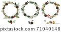 Christmas wreath watercolor illustrations set. 71040148
