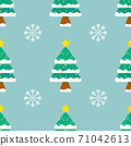 Seamless vector pattern of Christmas tree with white winter snowflakes on green background. 71042613
