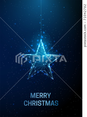 Abstract Happy New Year greeting card with hanging Christmas star 71042782