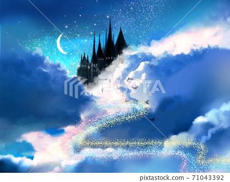 우주 속의 동화 이야기 같은 성과 달과 밤하늘의 배경 71043392