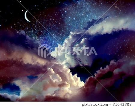 우주의 뭉게 구름과 초승달과 별이 빛나는 배경 71043708
