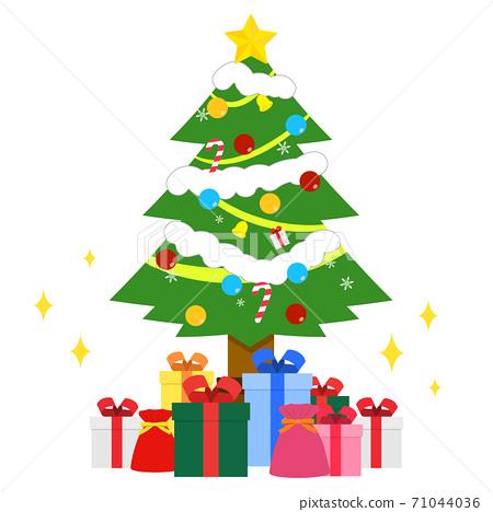 很多聖誕禮物和樹木 71044036
