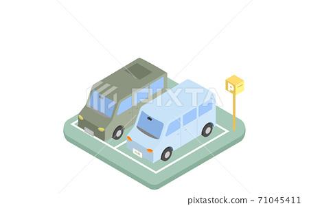 两辆车并排停放的等距插图 71045411
