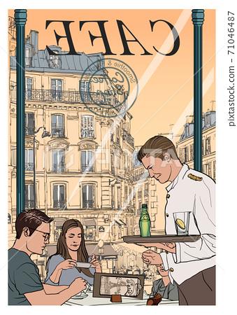 Tourism in Paris, cafe and restaurant 71046487