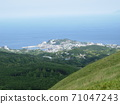 The city seen from the mountains, the vast sea, and the faintly visible island over the sea 71047243