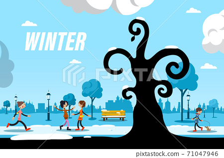Winter Day in City Park with People and Tree Silhouette - Vector 71047946