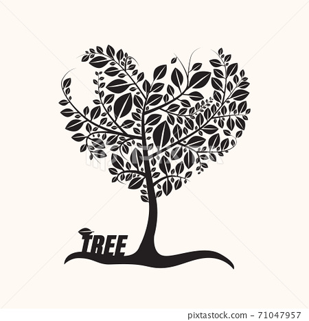 Heart Shaped Tree with Leaves Isolated on Light Background 71047957