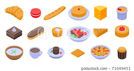 French food icons set, isometric style 71049451