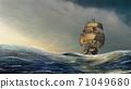 Sailboat on the sea 71049680