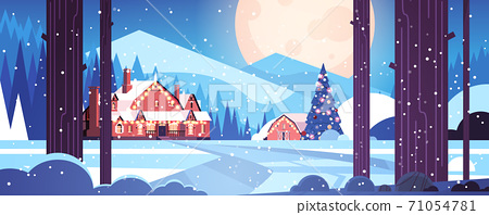 decorated houses in night forest merry christmas happy new year holiday greeting card 71054781